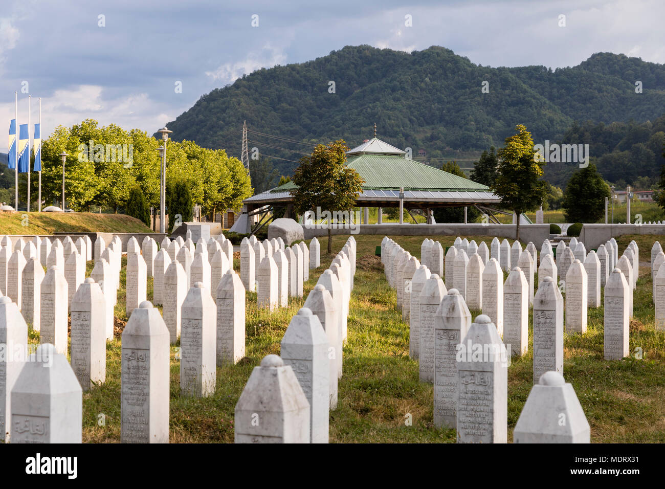 Srebrenica, Bosnia-Herzegovina, July 16 2017: Potocari, Srebrenica memorial and cemetery for the victims of the genocide Stock Photo