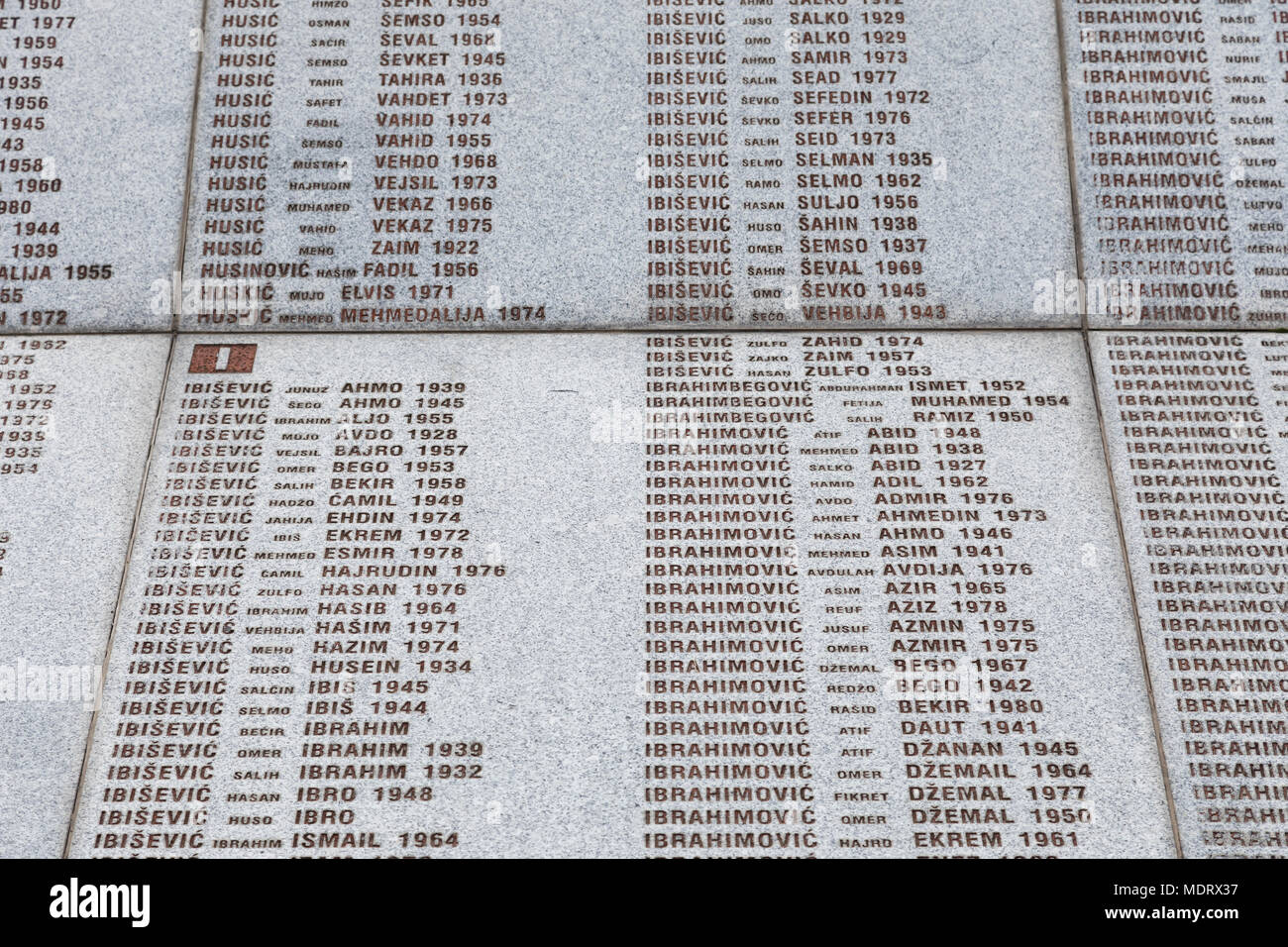 Srebrenica, Bosnia-Herzegovina, July 16 2017: Potocari, Srebrenica memorial and cemetery for the victims of the genocide - Stock Image