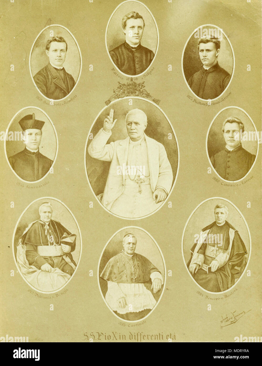 Portraits of Pope Pius X in different ages - Stock Image