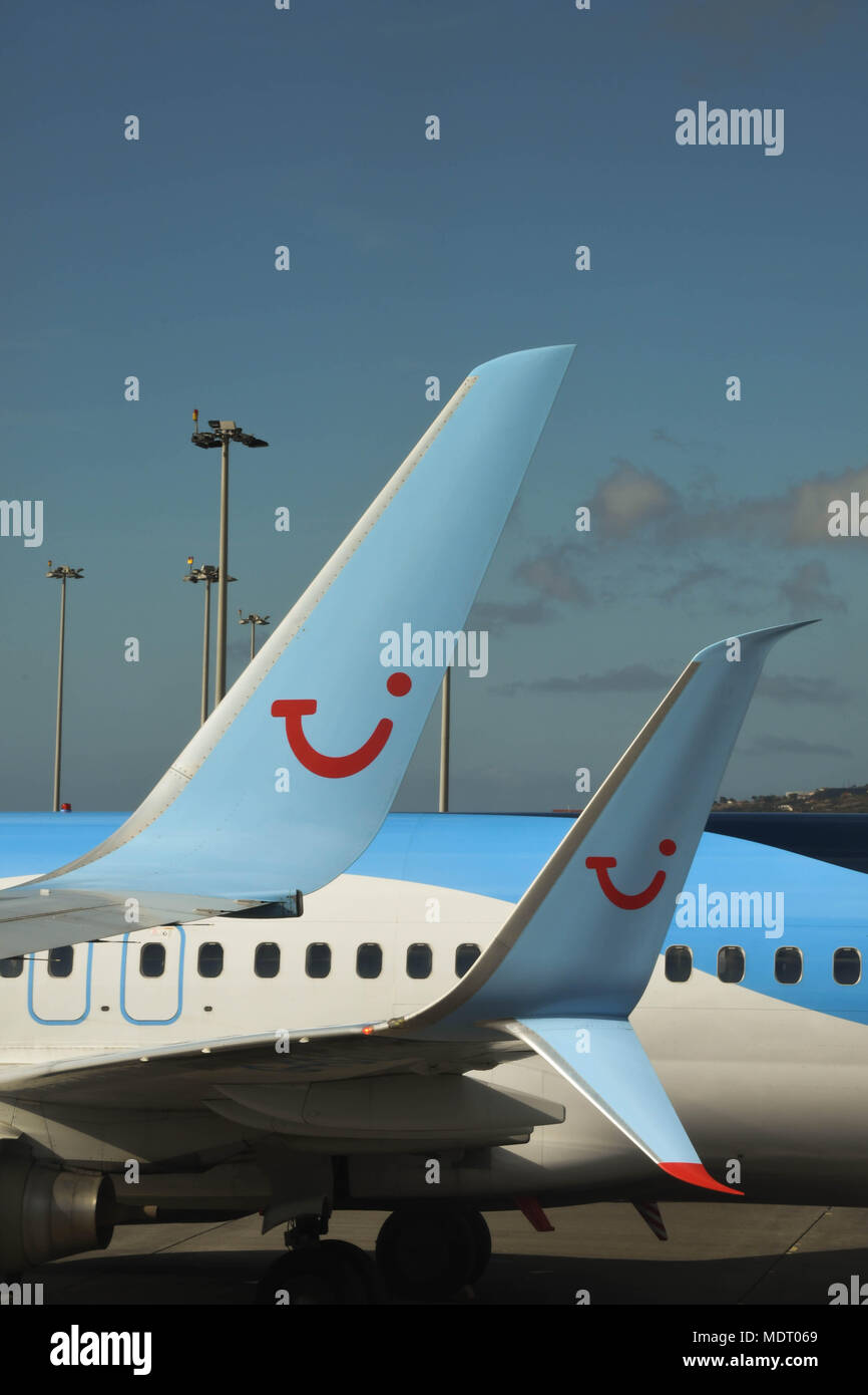 Fuel saving winglet on the tip of a modern jet aircraft - Stock Image