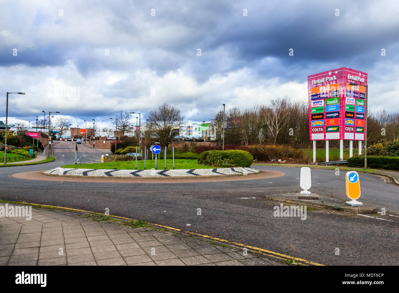 Friern Bridge retail park, next to the North Circular Road near Friern Barnet in North London, UK - Stock Image
