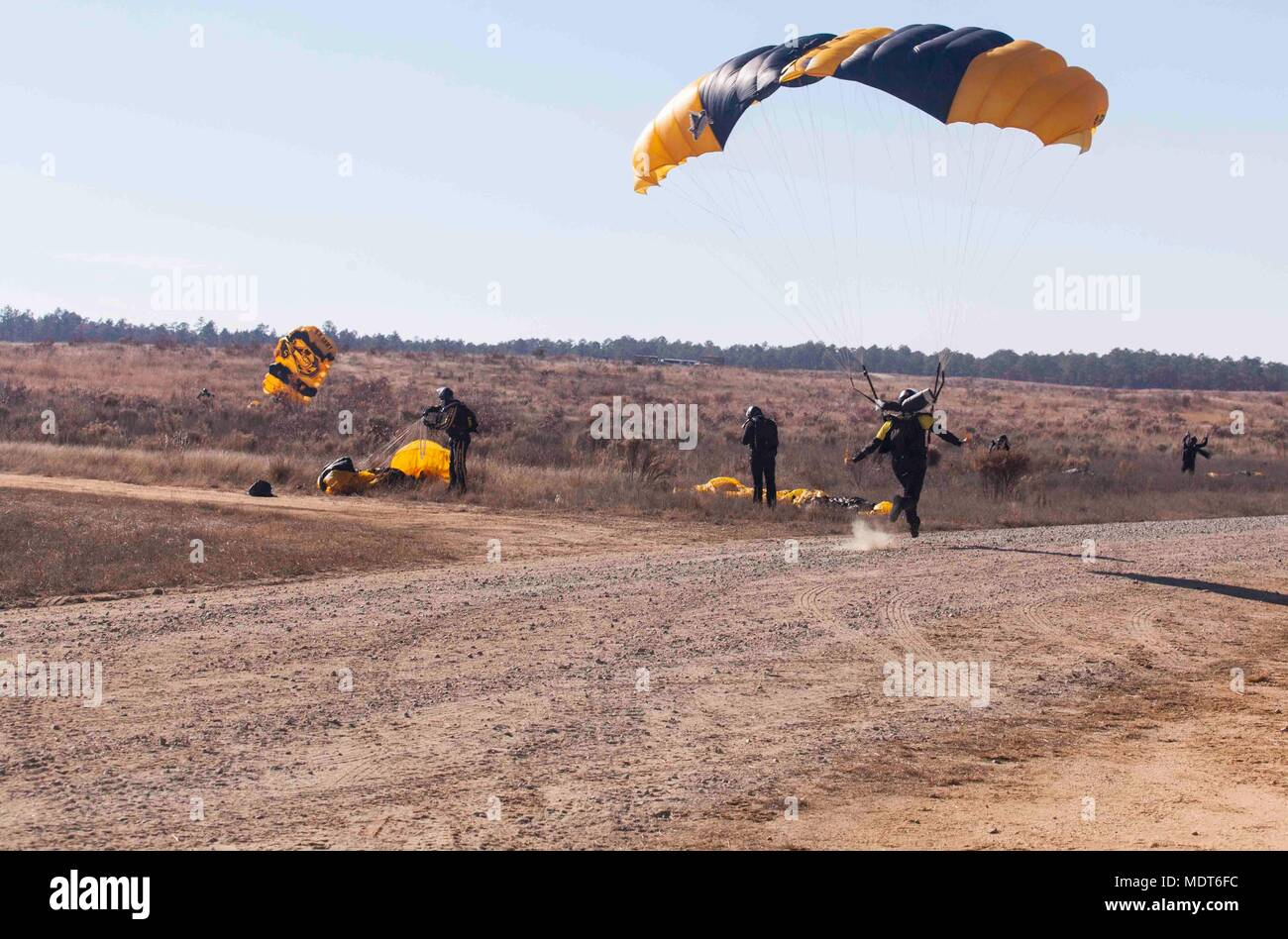 A U S  Army paratrooper from the U S  Army Parachute Team