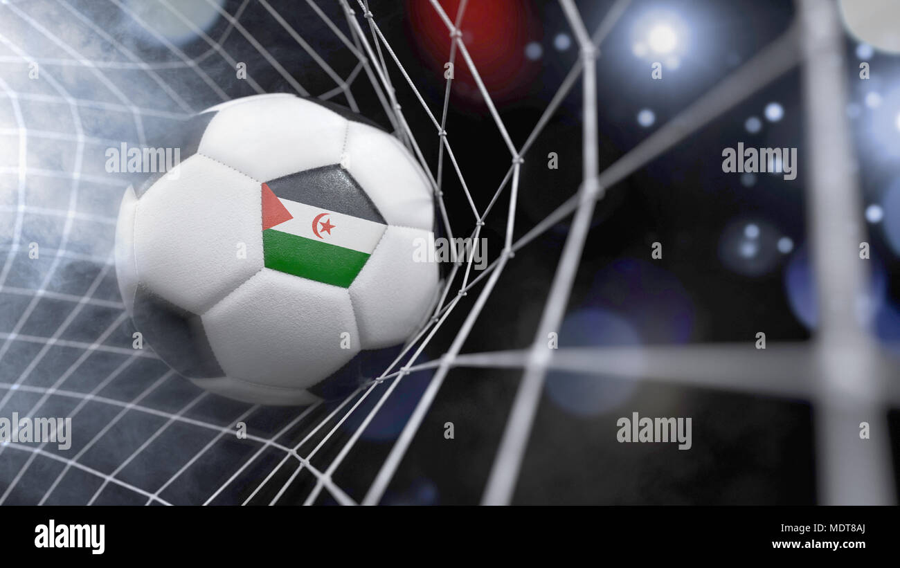 Very realistic rendering of a soccer ball with the flag of Western Sahara in the net.(series) Stock Photo
