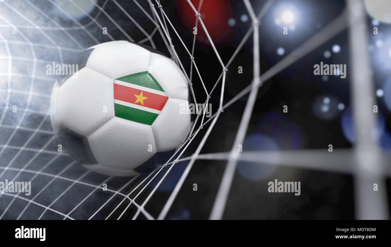 Very realistic rendering of a soccer ball with the flag of Suriname in the net.(series) - Stock Image