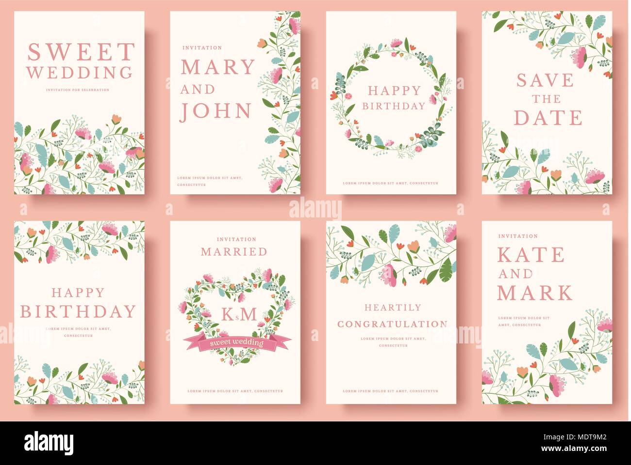 Set Of Flower Invitation Cards Colorful Greeting Wedding