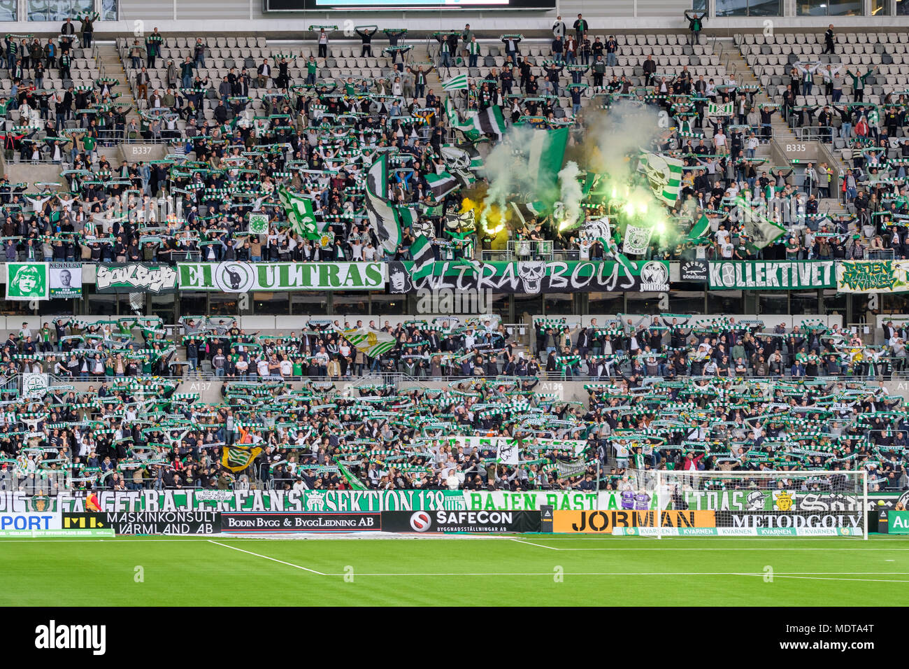 Hammarby fans at Tele2 arena  in Stockholm seating duringa  football game - Stock Image