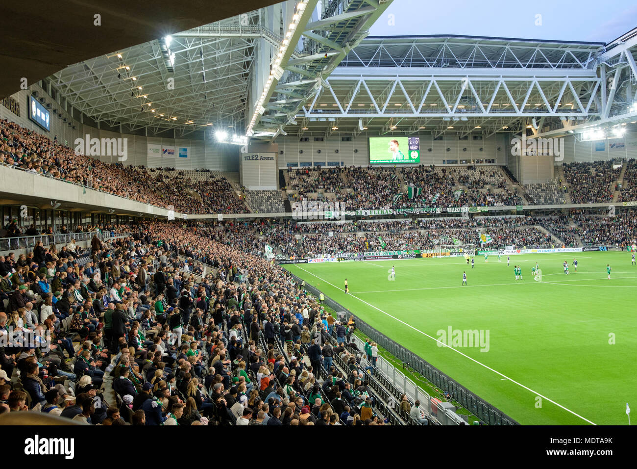 Tele2 arena is a multi-purpose stadium in Stockholm seating 32000 during football games is the home of Hammarby IF and Djurgårdens IF. - Stock Image