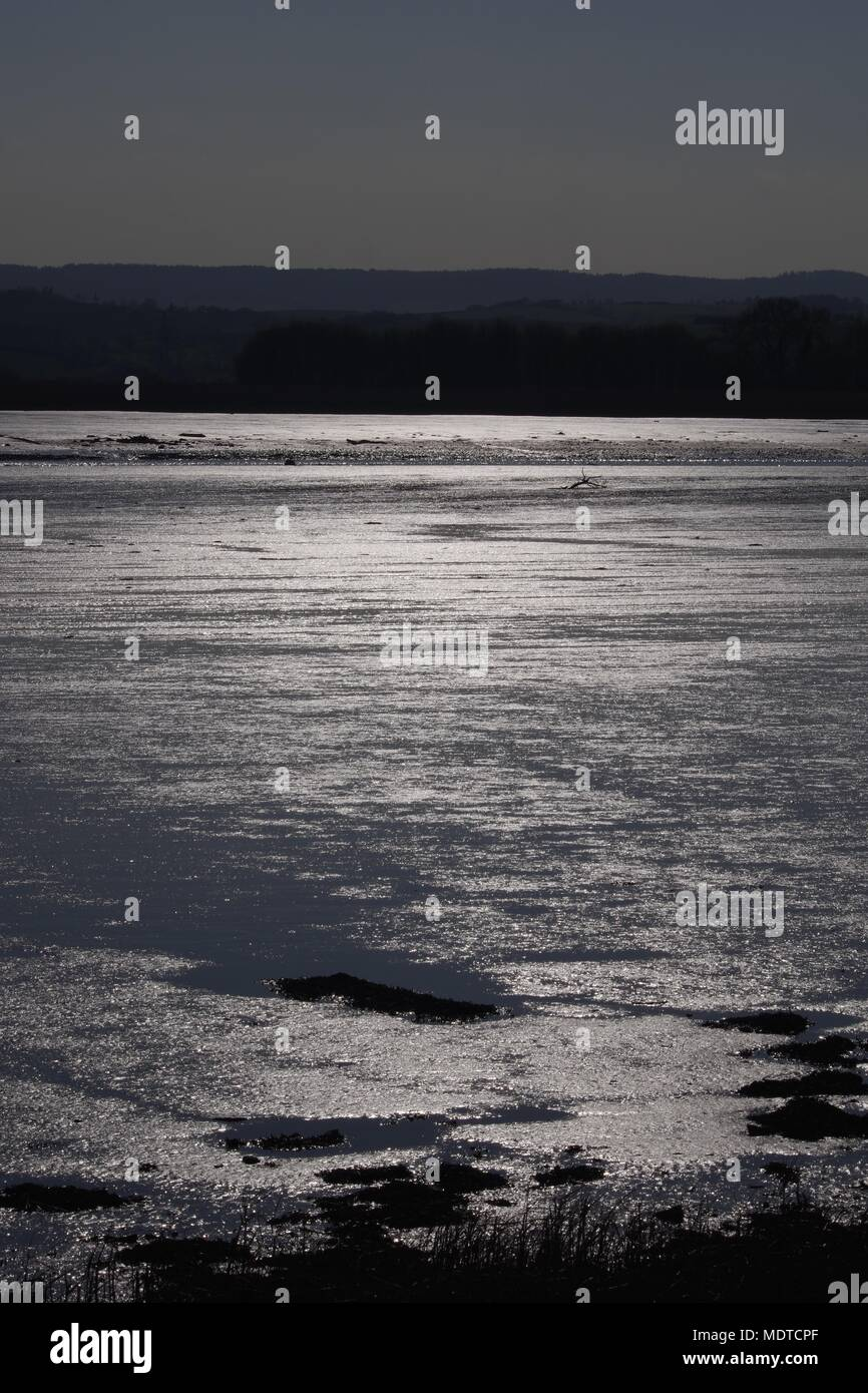Silvery Mudflat Landscape of the Exe Estuary, from Topsham, Exeter, Devon, UK. April, 2018. - Stock Image