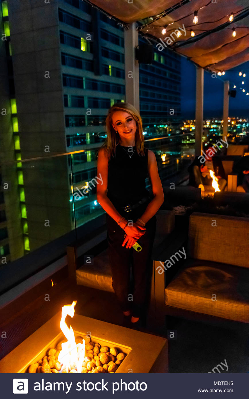 The 54Thirty (the highest rootop bar in Denver at 5430 feet above sea level), on the 20th floor of the Le Meridien Hotel, Downtown Denver, Colorado US - Stock Image