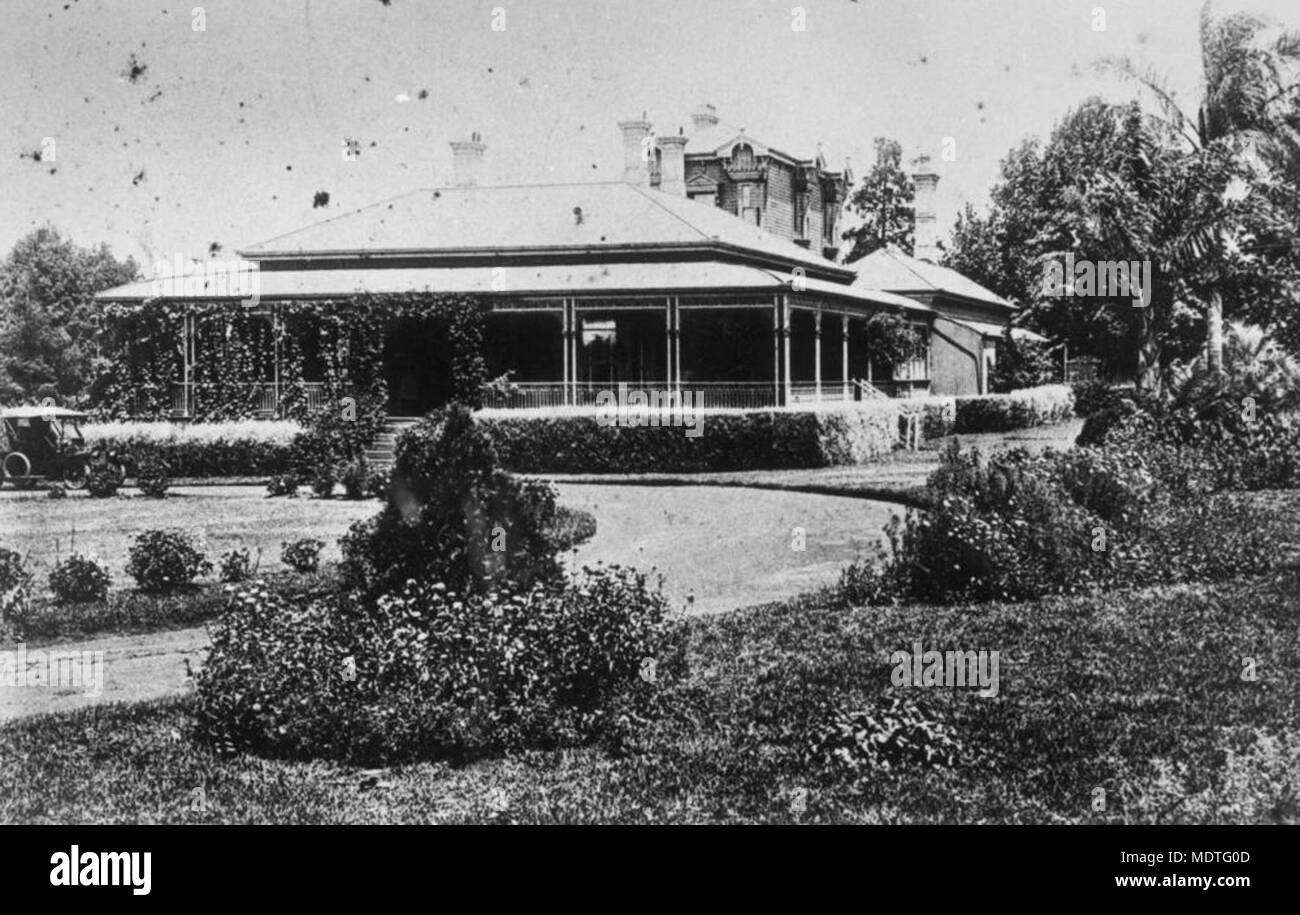 Ascot House in Toowoomba, designed by architect, James Marks, ca. Stock Photo