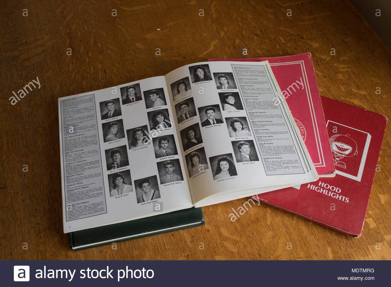 Yearbooks from the 1990's in New England, USA. - Stock Image