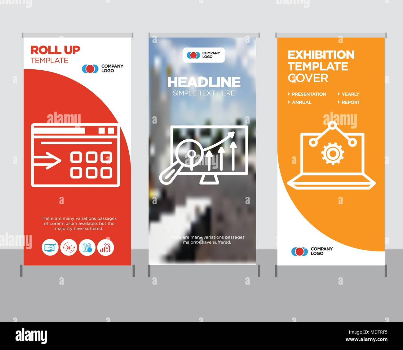 Laptop Analysis modern business roll up banner design template ...