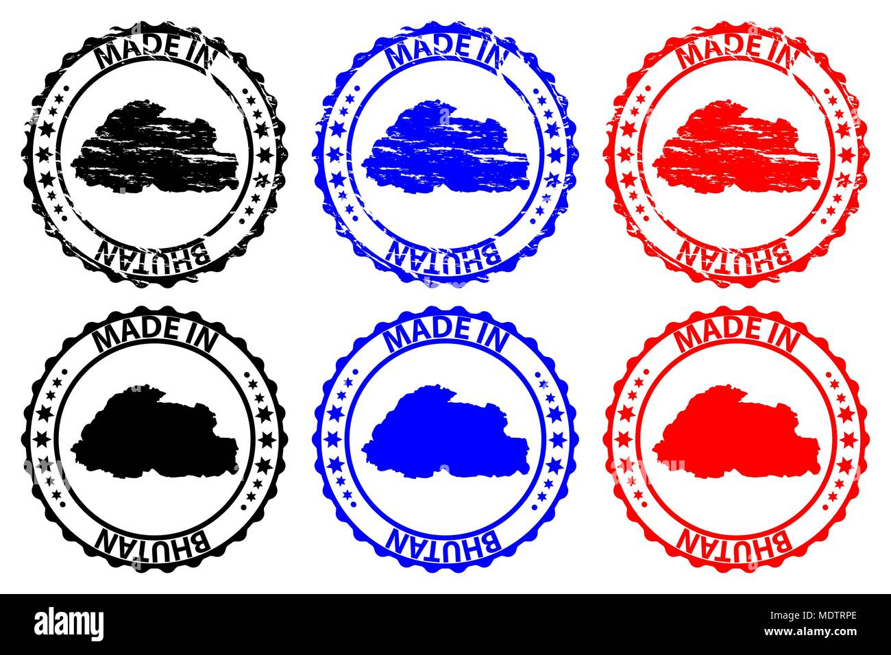 Made in Bhutan - rubber stamp - vector, Bhutan map pattern - black, blue and red - Stock Vector