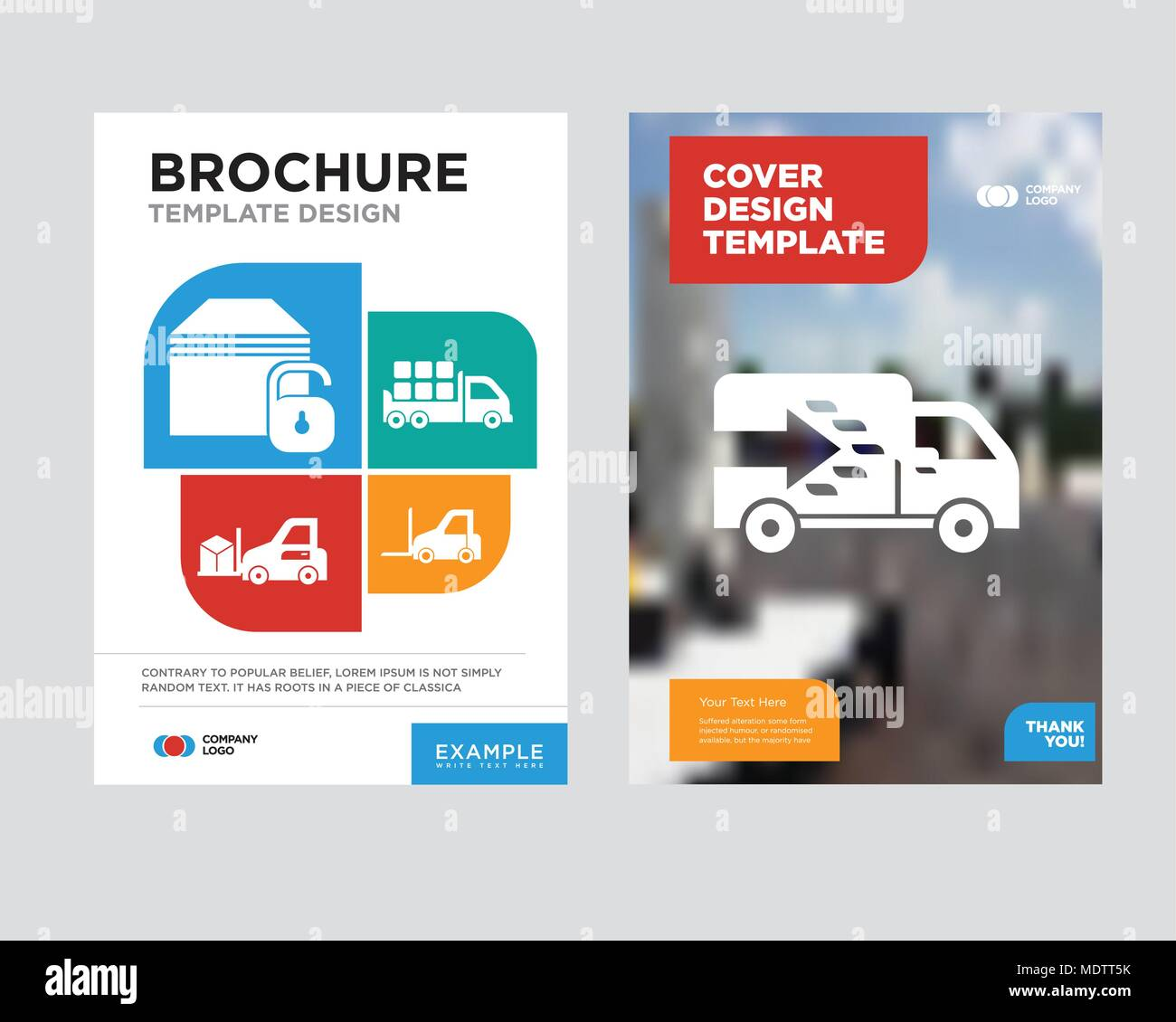 logistics truck brochure flyer design template with abstract photo