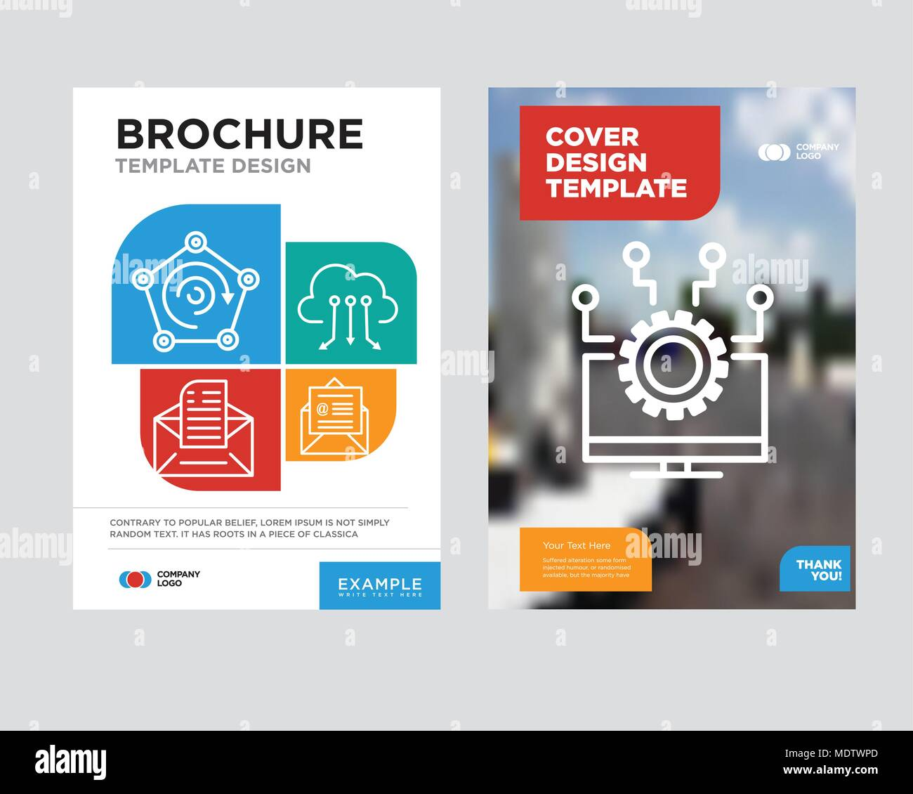 laptop brochure flyer design template with abstract photo background