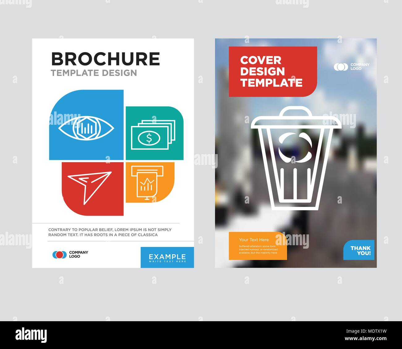 trash brochure flyer design template with abstract photo background