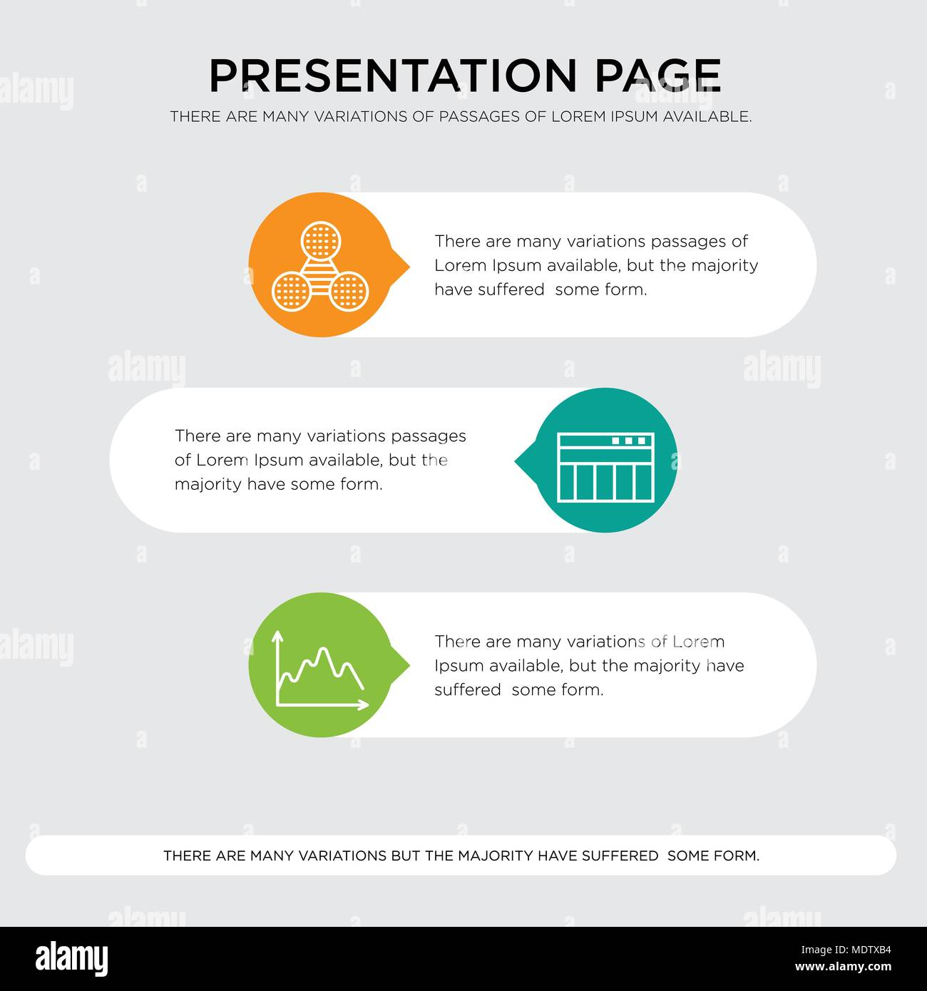 Data, Table for data, Pie graphic comparison presentation design template in orange, green, yellow colors with horizontal and rounded shapes - Stock Image