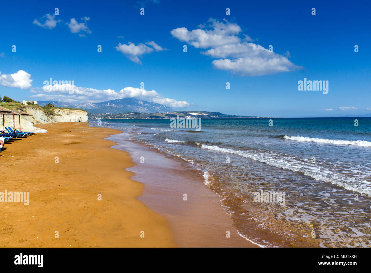amazing seascape of Xi Beach,beach with red sand in Kefalonia, Ionian islands, Greece - Stock Image
