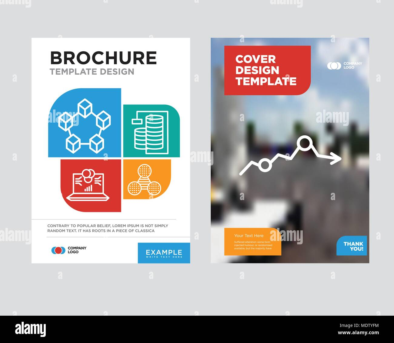 Missing data on analytics brochure flyer design template with abstract photo background, Pie graphic comparison, Database Analysis, Laptop data analyt - Stock Image