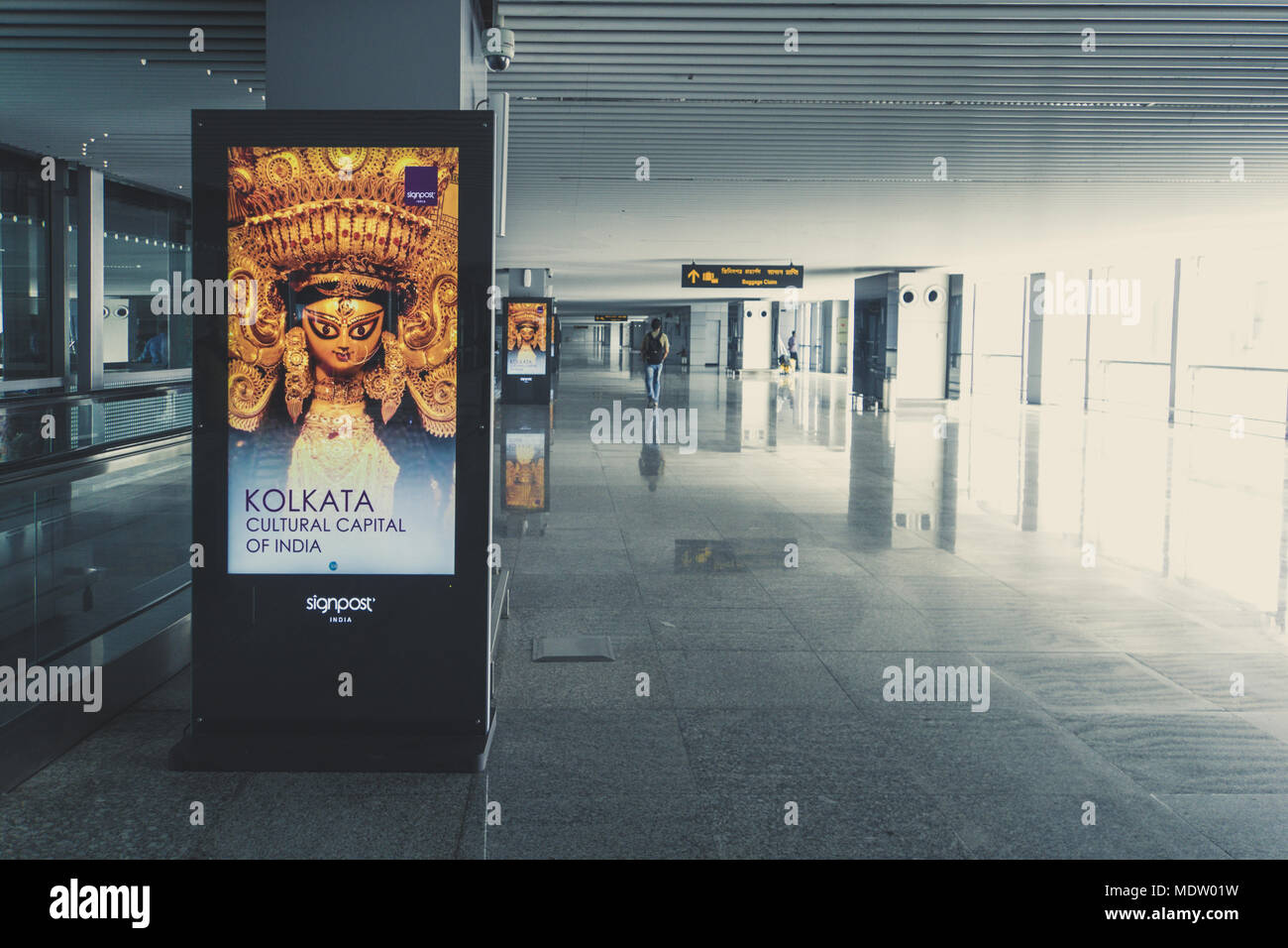 KOLKATA, INDIA - 26 January 2018. The new terminal of Arrival hall of Netaji Subhash Chandra Bose International Airport in Kolkata, West Bengal, India - Stock Image