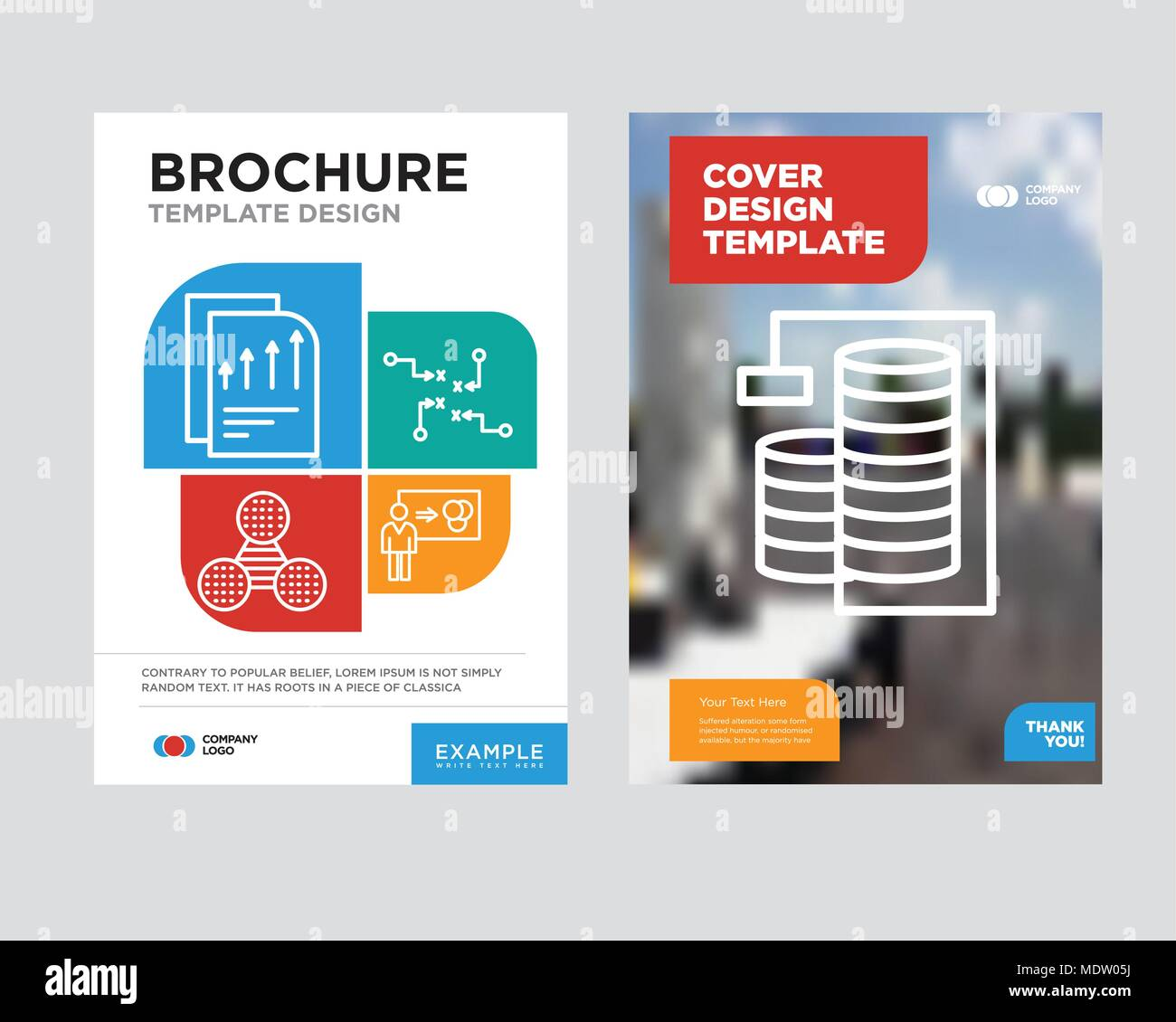 Database Analysis brochure flyer design template with abstract photo background, Person explaining data, Strategy sketch, Pie graphic comparison, Bars - Stock Image