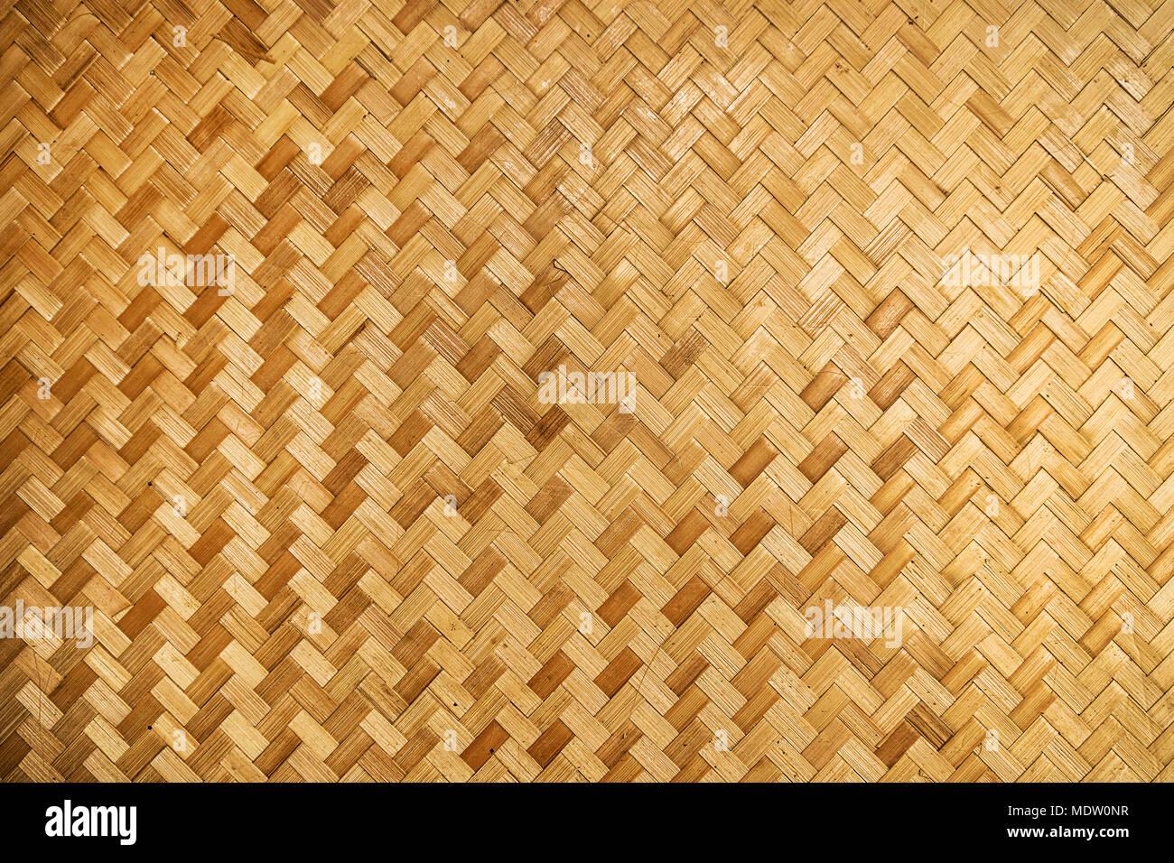 Woven Wood Pattern Background Yellow Woven Bamboo Wall Stock Photo
