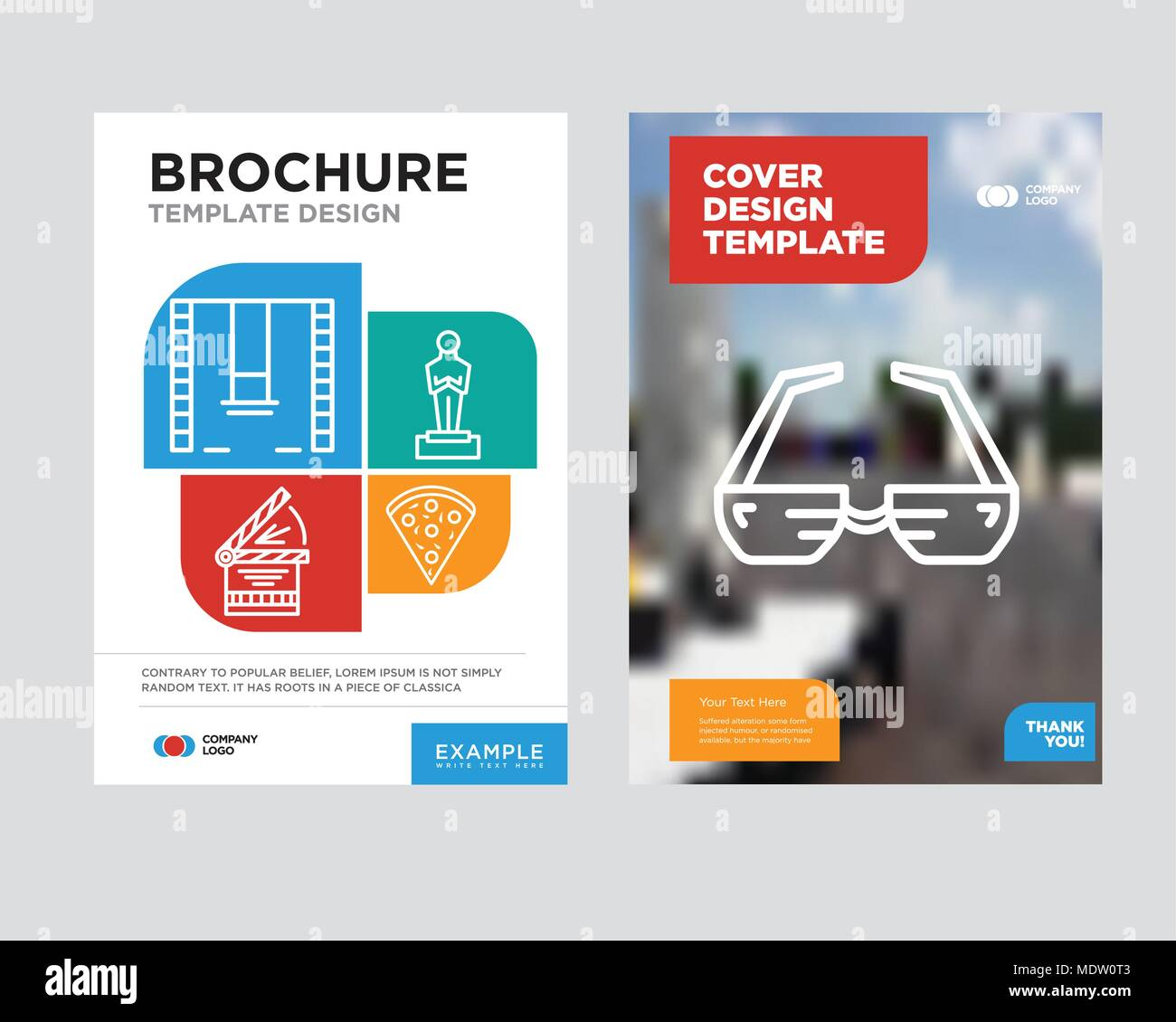 3d glasses brochure flyer design template with abstract photo