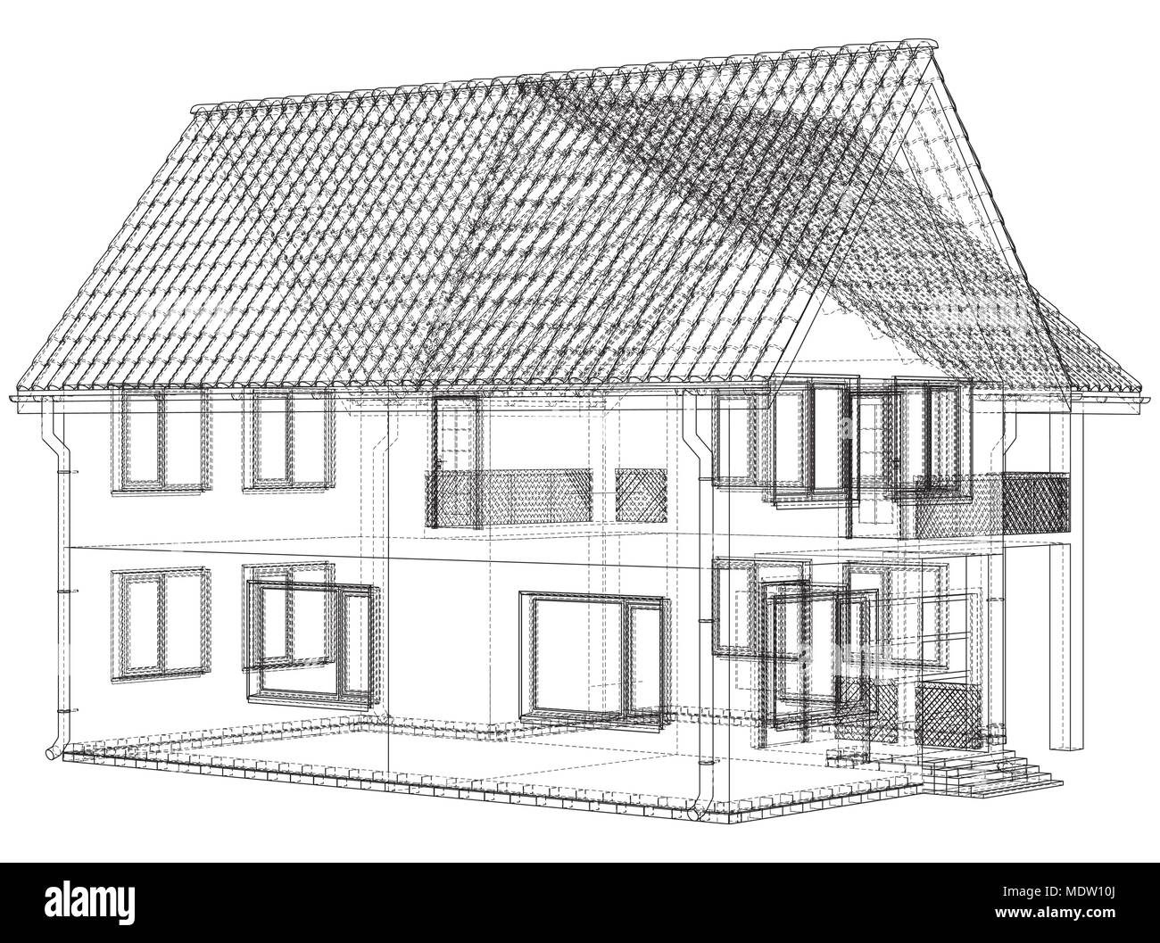 Vector Sketch Of The Cottage With A Roof Illustration Created Of 3d Stock Vector Image Art Alamy