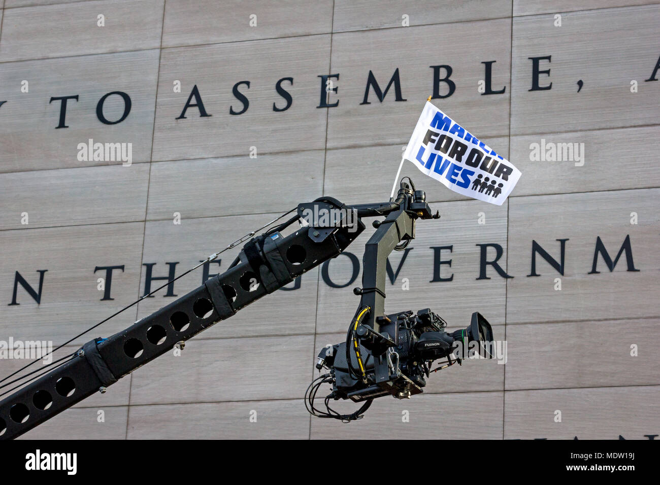 TV camera outside the Newseum displaying the text of the First Amendment to the U.S. Constitution. March For Our Lives rally against gun violence on March 24, 2018 in Washington, DC. - Stock Image