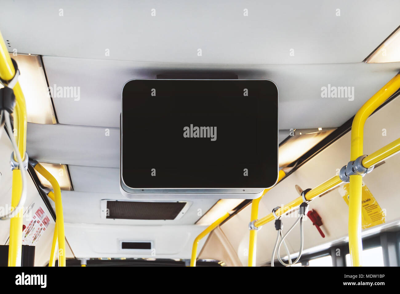 Blank Billboard in Public Subway. black TV without information inside the bus. Video advertising in public transport. Mock up electronic media board w Stock Photo