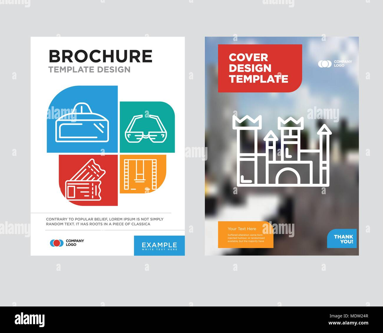 Castle Brochure Flyer Design Template With Abstract Photo Background
