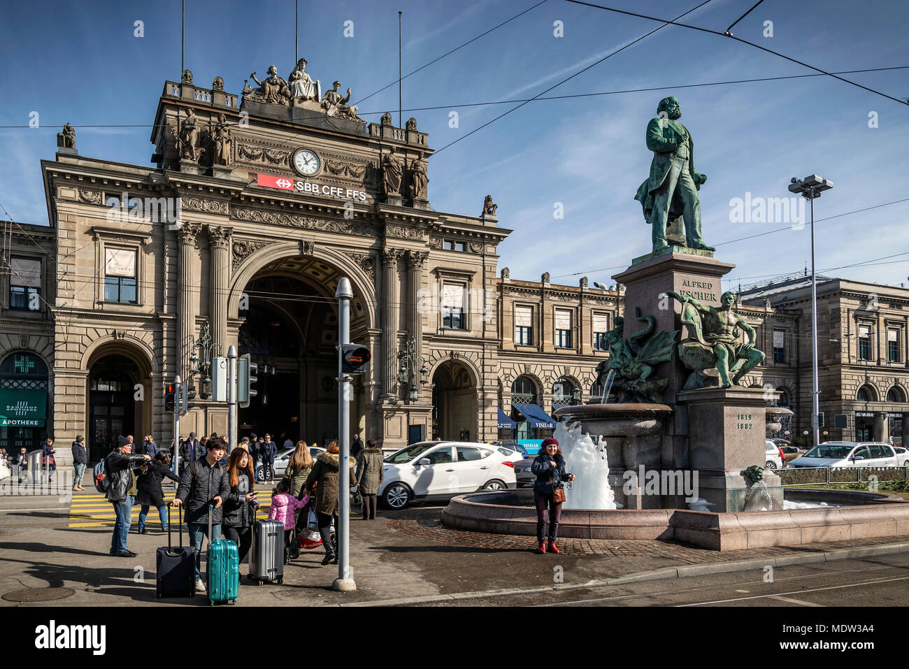 hauptbanhof central railway station landmark in old town of zurich switzerland - Stock Image