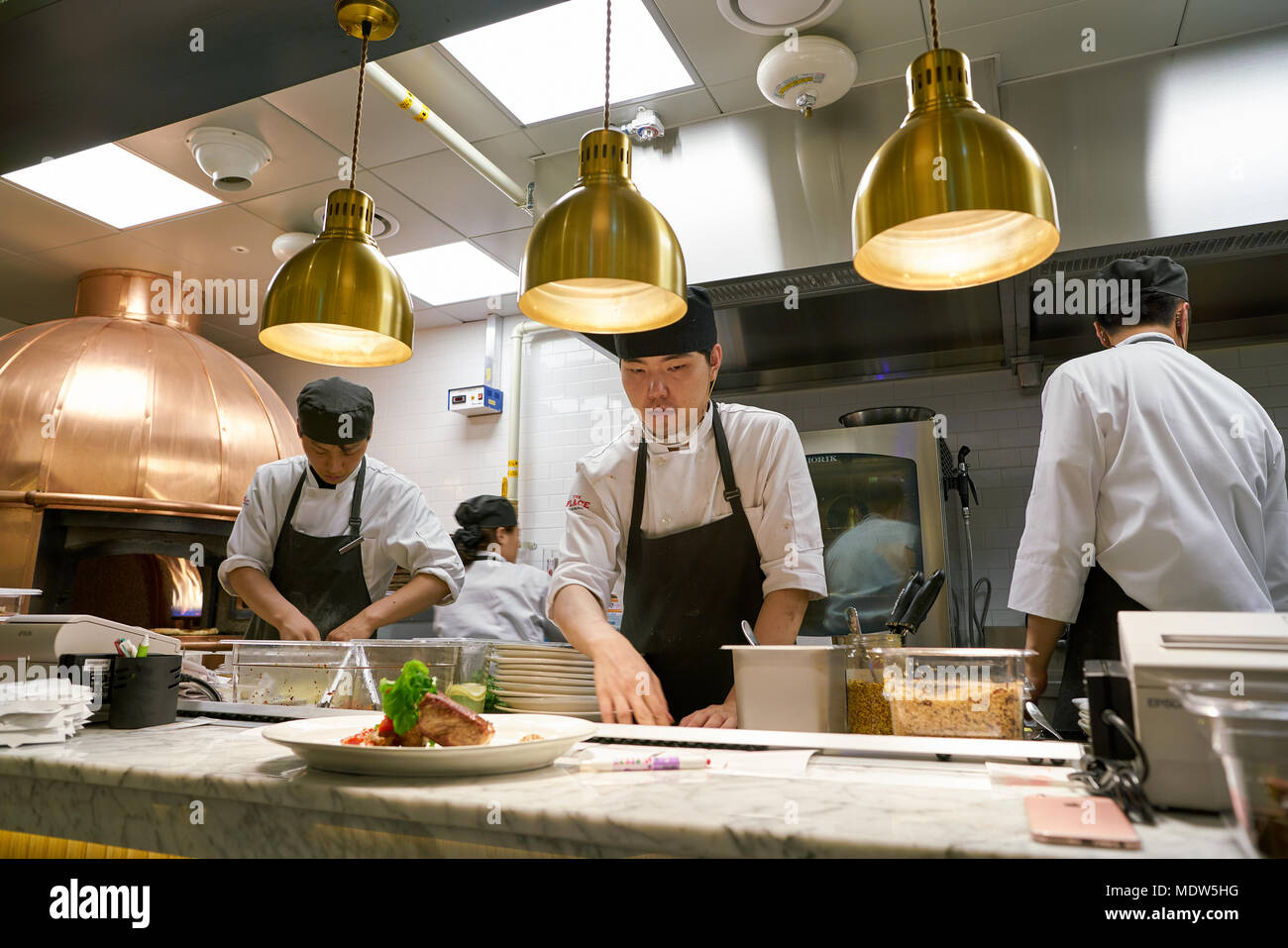Busan South Korea May 28 2017 Staff In Modern Open Kitchen Of