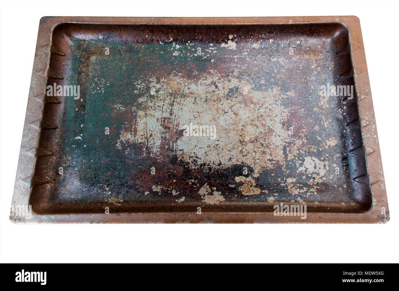 A regular flat worn and tarnished metal oven baking tray on an isolated white studio background - 3D render - Stock Image
