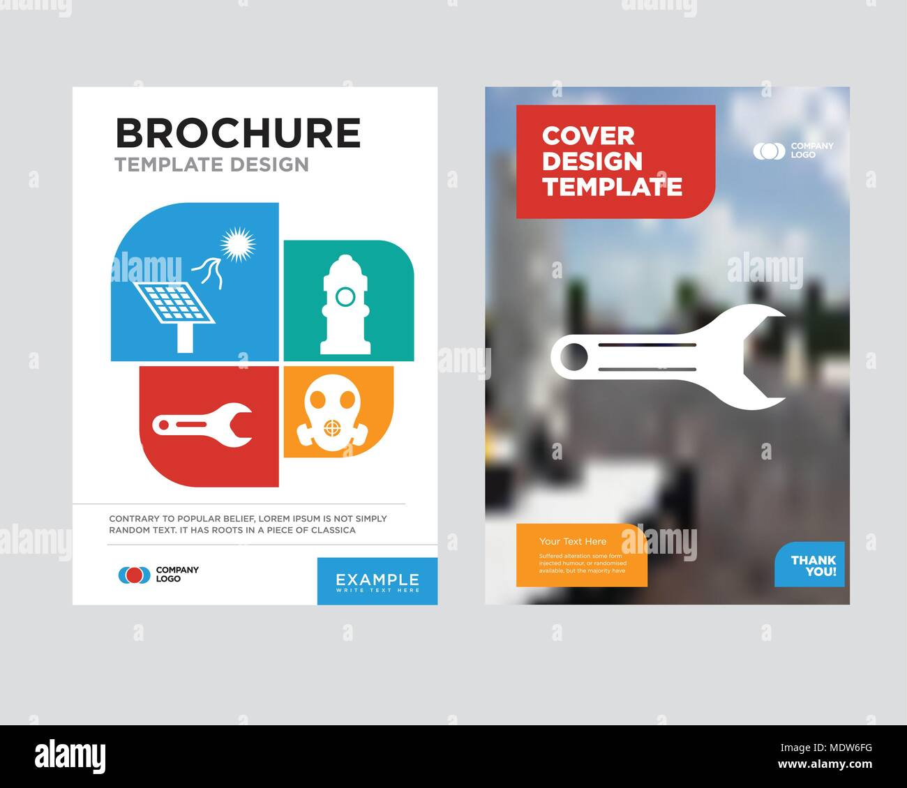 adjustable wrench brochure flyer design template with abstract photo