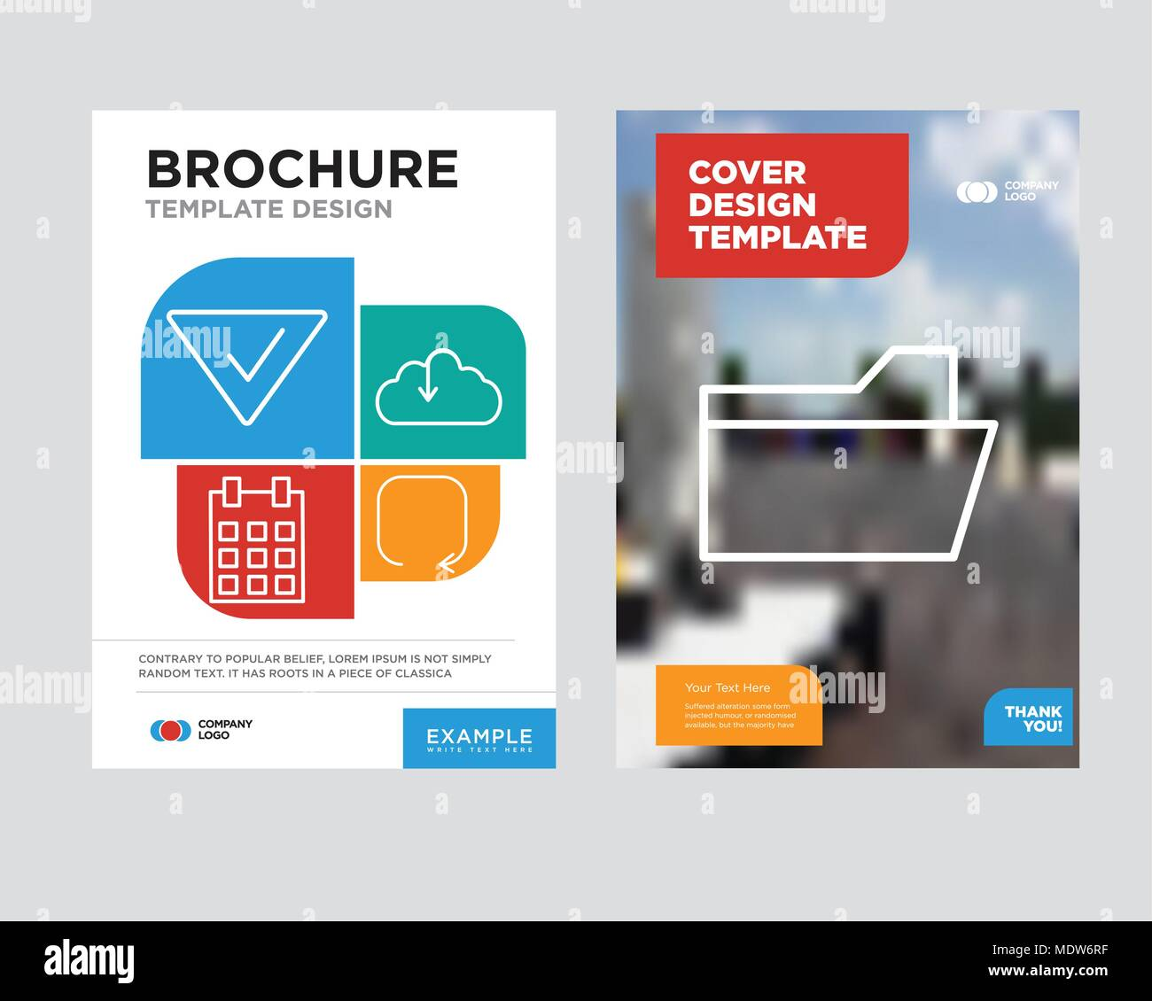 File folder brochure flyer design template with abstract photo