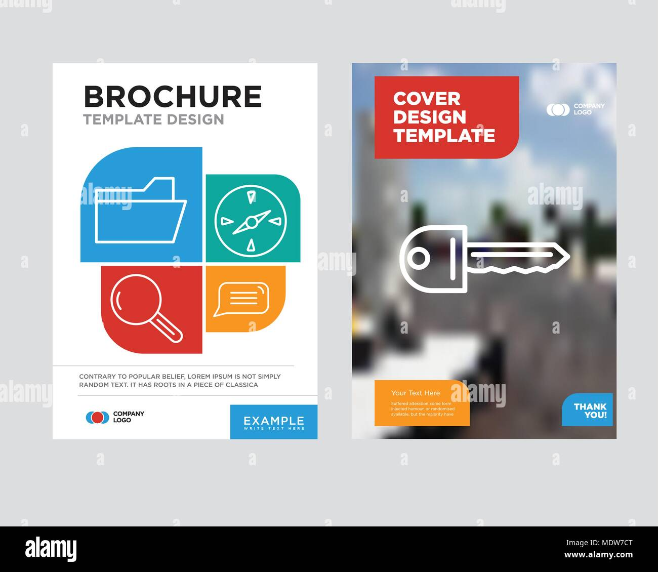 Key brochure flyer design template with abstract photo