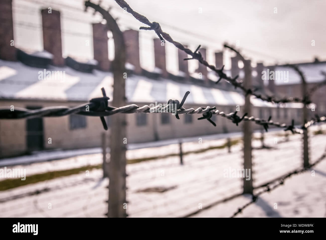 Prison Barbed Wire Fence Architecture Stock Photos & Prison Barbed ...