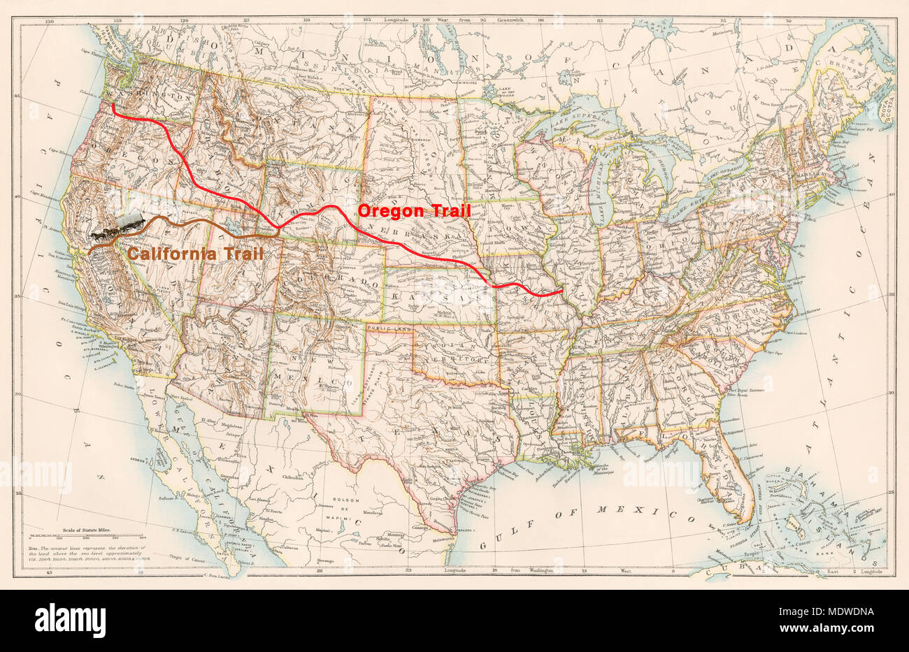 Oregon Trail And California Trail Routes On An 1870s Map Of The Us - California-on-the-us-map
