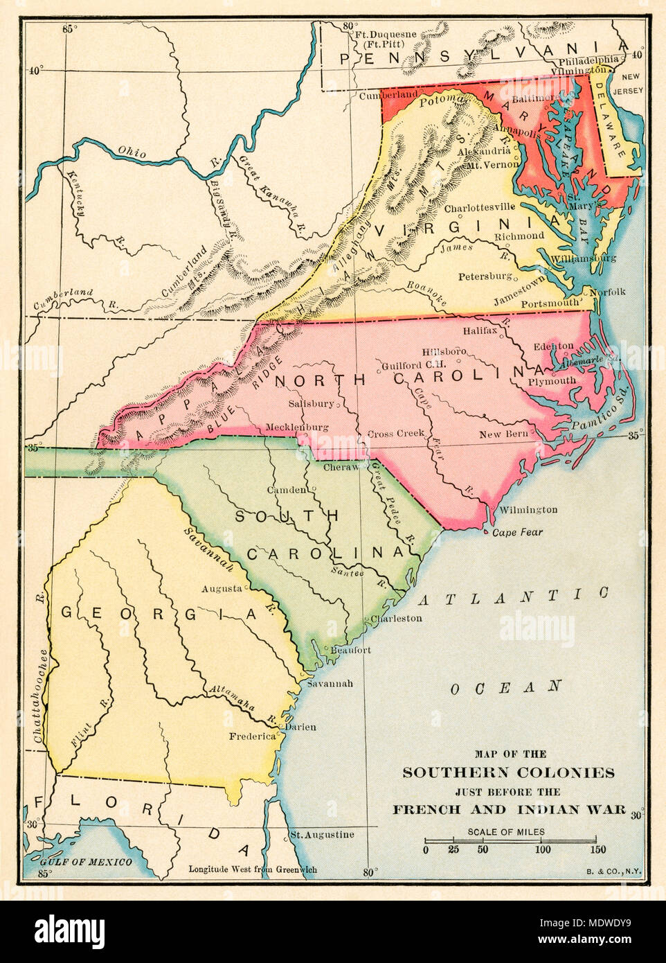 Southern colonies just before the French and Indian War. Printed color lithograph - Stock Image