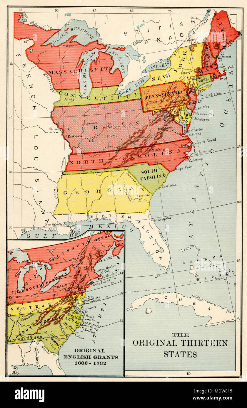 Original 13 states and (inset) original Enlish land grants. Printed color lithograph - Stock Image