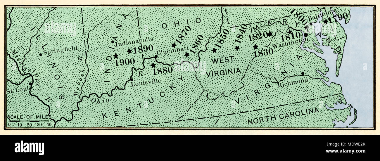 Map showing center of US population moving westward along the National Road, 1790-1900. Digitally colored woodcut - Stock Image