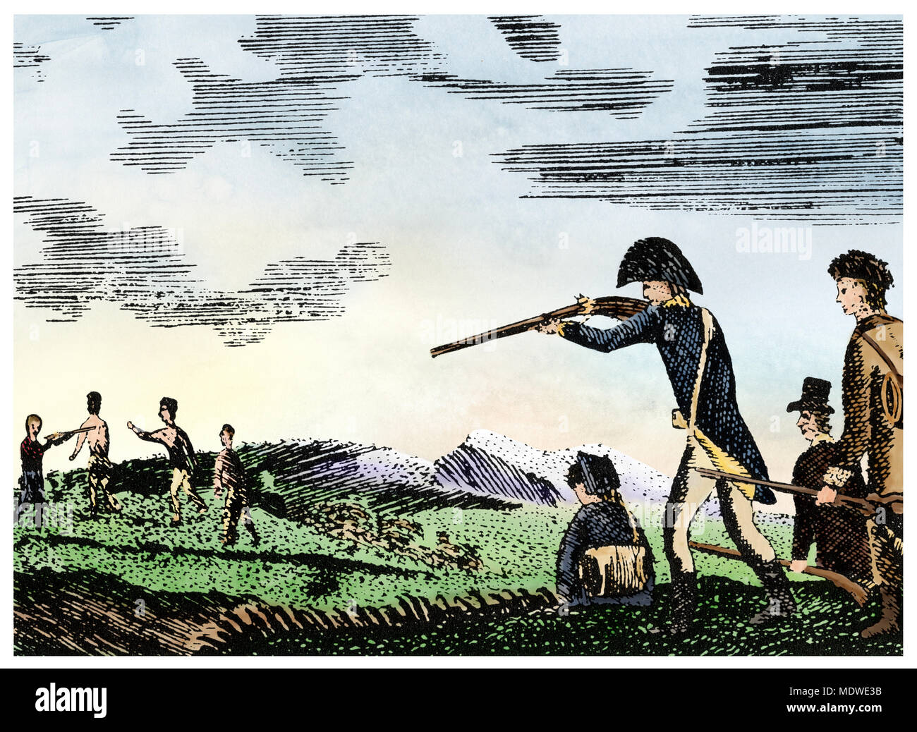 Meriwether Lewis shoots a Native American for disobedience, Corps of Discovery expedition. Digitally colored Patrick Goss woodcut - Stock Image