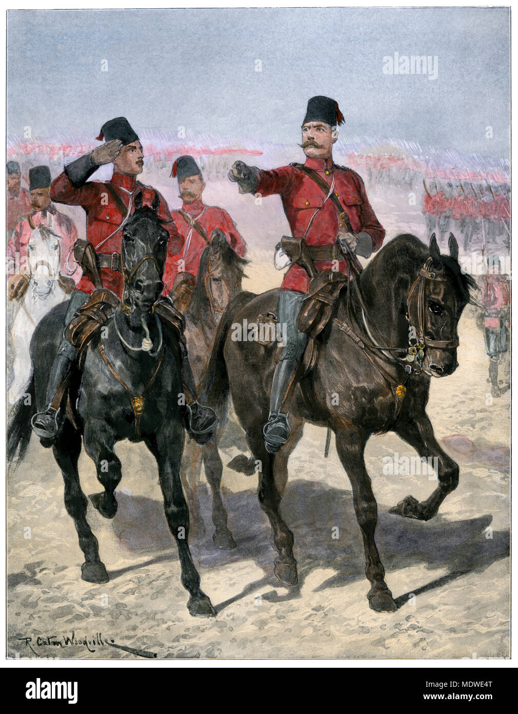 British General Kitchener leading Egyptian troops toward Dongola, Sudan, 1896. Hand-colored halftone of an illustration - Stock Image