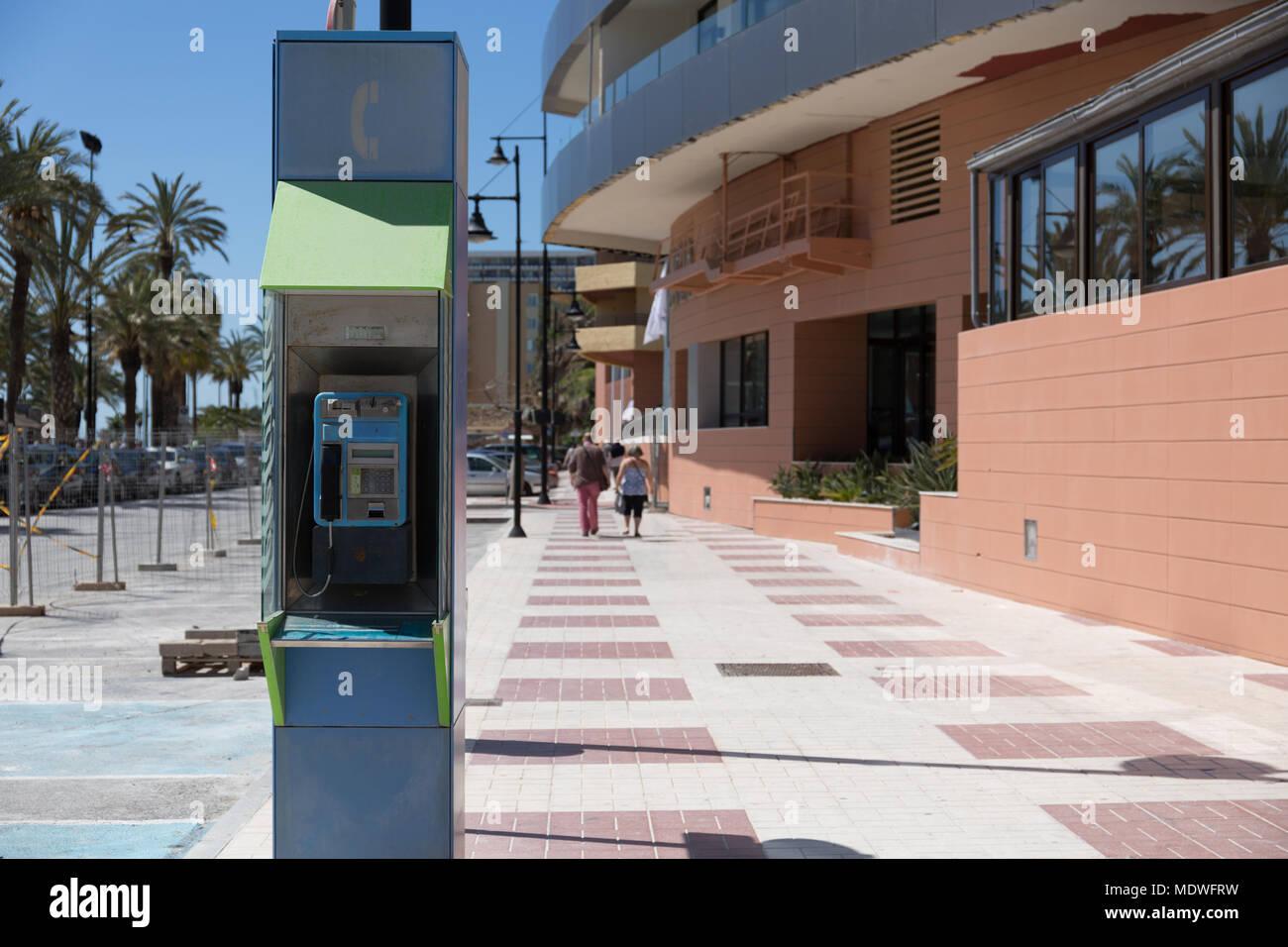 Telephone kiosk in Torremolinos, Spain - Stock Image