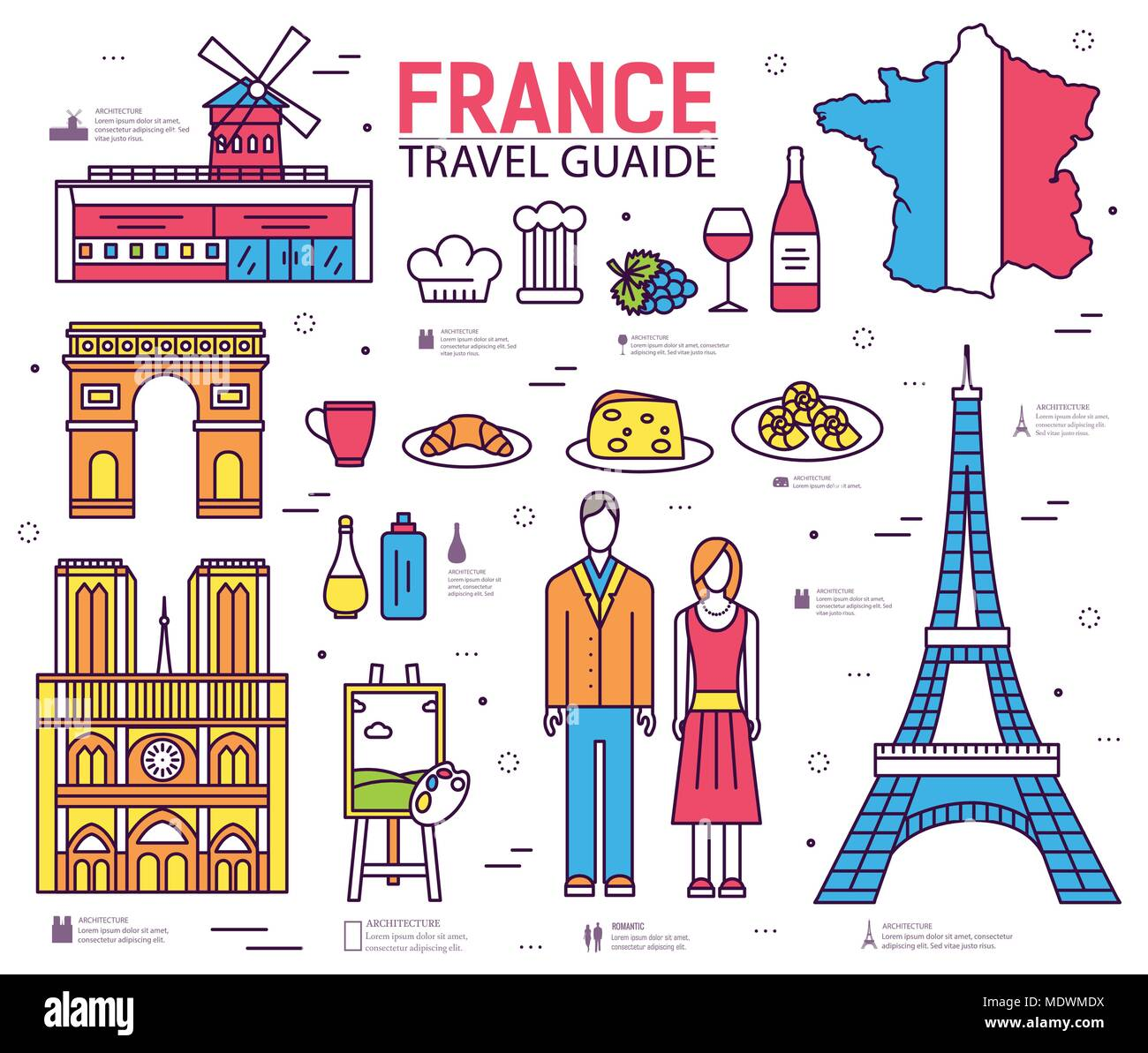Country France trip guide of goods, places in thin lines style design. Set of architecture, fashion, people, nature background concept.  - Stock Image