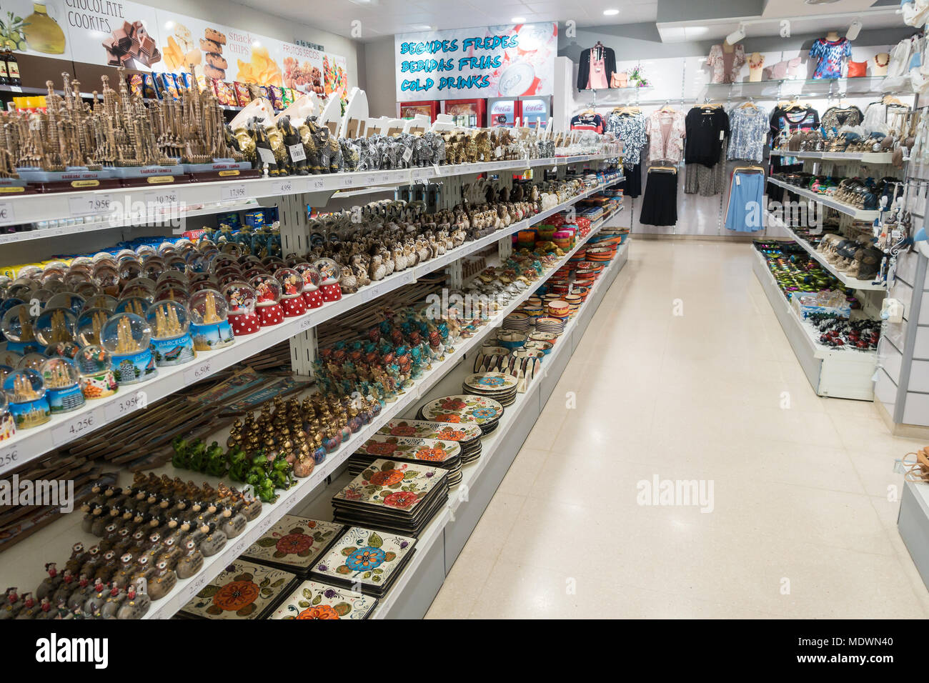 A display of gifts, souvenirs and memorabilia in a souvenir shop. Stock Photo