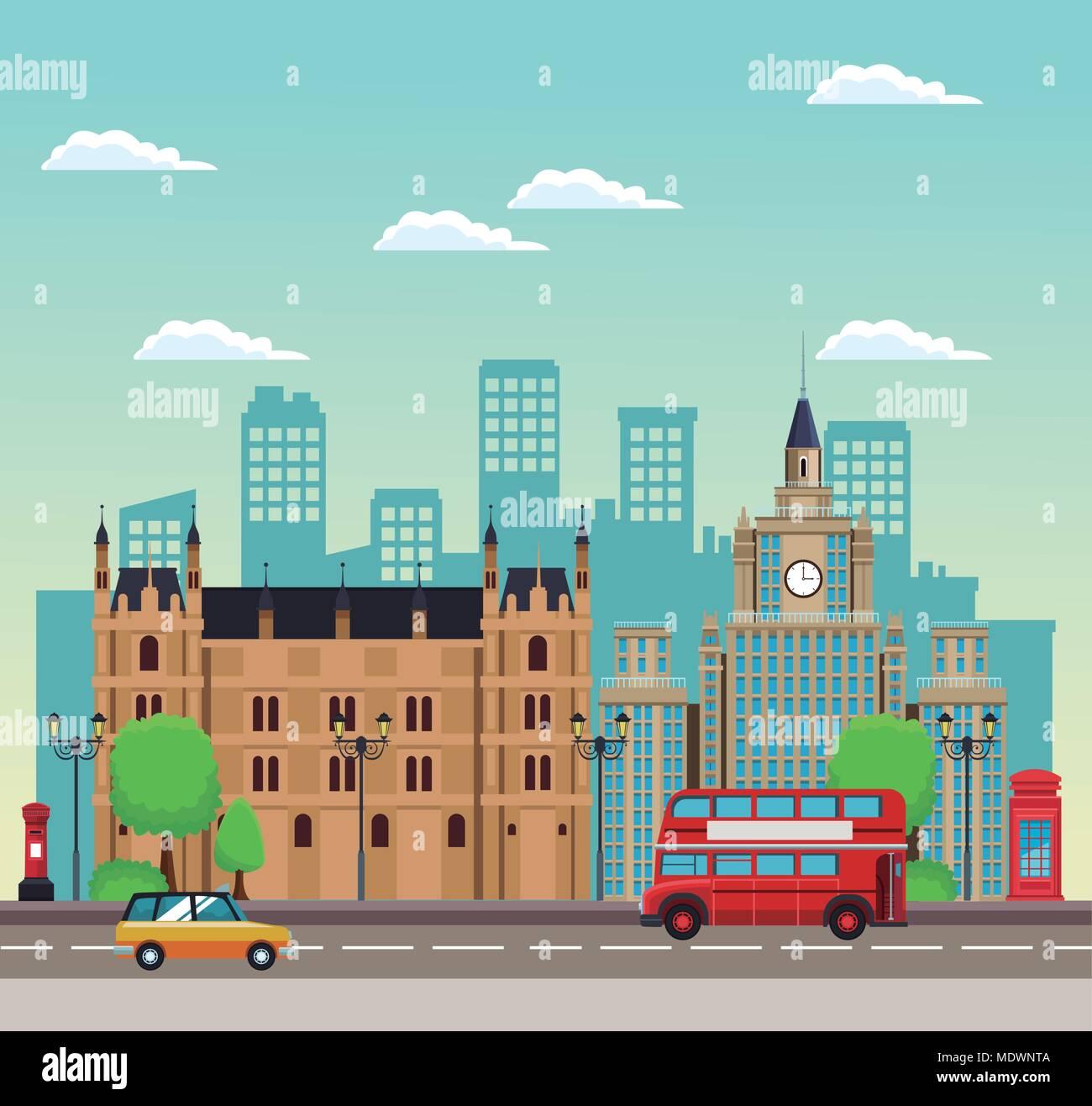 european beautiful cityscape - Stock Vector