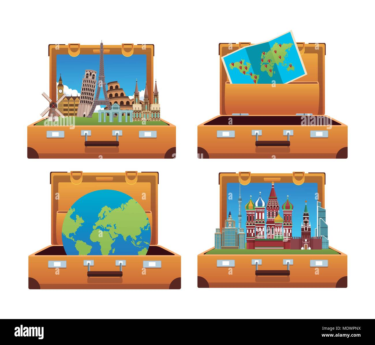 Suitcases open to travel - Stock Image