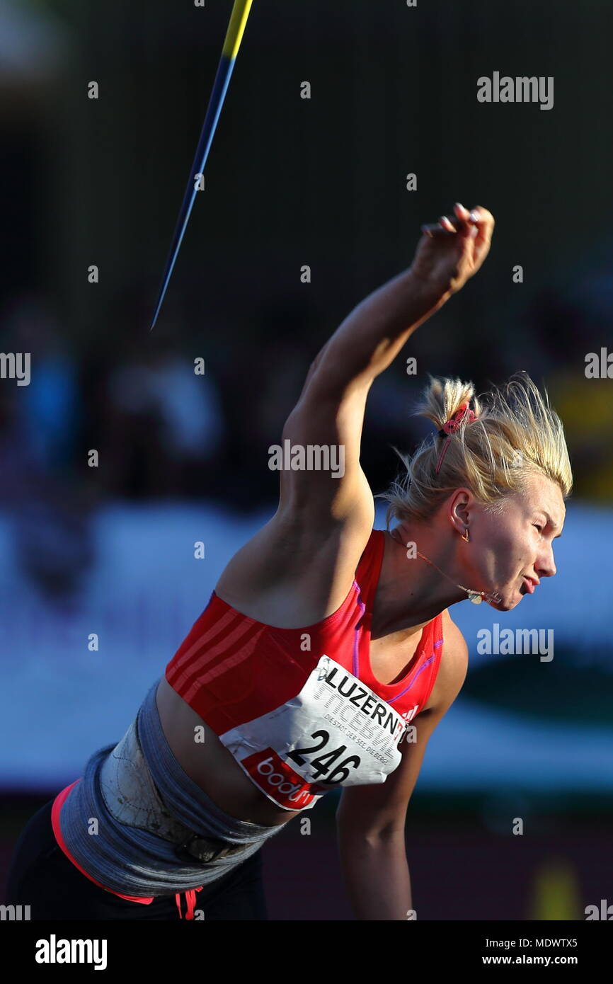 Lucerne, Switzerland. 17th, Jul 2012.  Rebryk Vira of Ukraine in action during the Women's Javelin Throw event of the Meeting athletics competition at Stock Photo